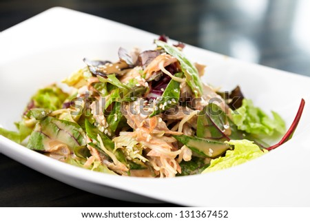 Chicken and noodle salad with cashew nut sauce - stock photo