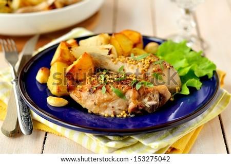 Chicken and Potato Roast - stock photo