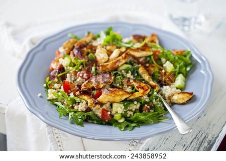 Chicken and quinoa salad - stock photo