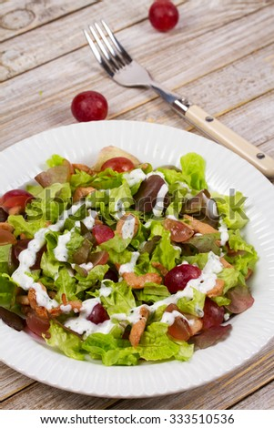 Chicken and red grape salad - stock photo