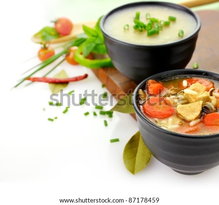 Chicken And Wild Rice Soup And Potato Cream Soup - stock photo