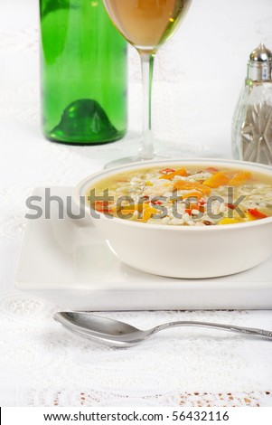 chicken and wild rice soup with wine - stock photo