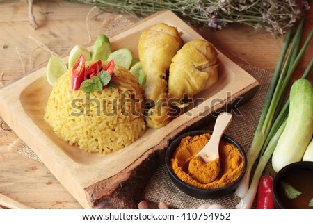 Chicken biryani with rice delicious and sauce - stock photo