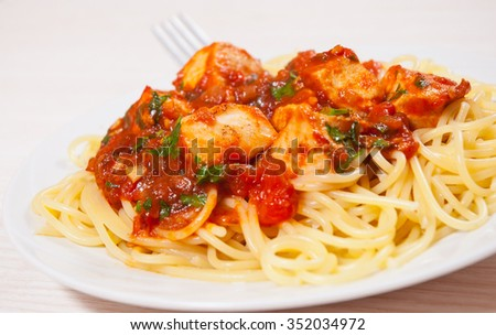 chicken breast in tomato sauce with spaghetti