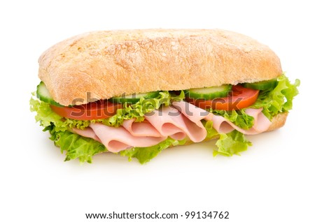 Chicken breast sandwich isolated on white - stock photo