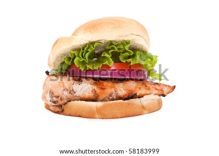 Chicken breast sandwich isolated on white background - stock photo