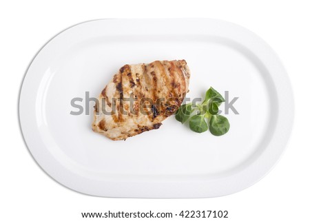 Chicken breast steak.  Isolated on a white background. - stock photo