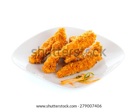 Chicken breast stripes fried with bread crumbs. - stock photo