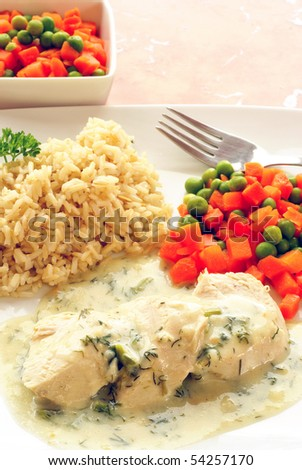 Chicken breast with dill sauce, brown rice and vegetables - stock photo