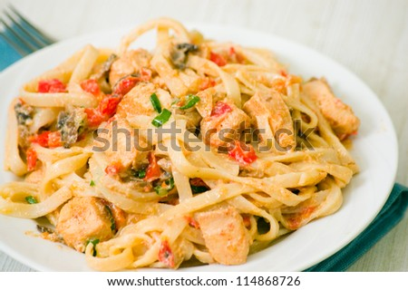 chicken breast with pasta - stock photo