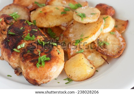 chicken breast with potatoes - stock photo