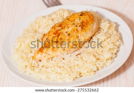 Chicken Breast with Rice - stock photo