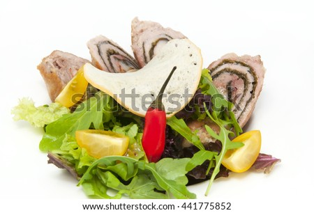chicken breast with vegetables on a white plate - stock photo