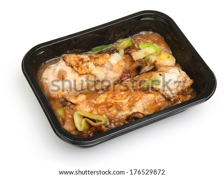 Chicken breasts in red wine sauce ready meal. - stock photo