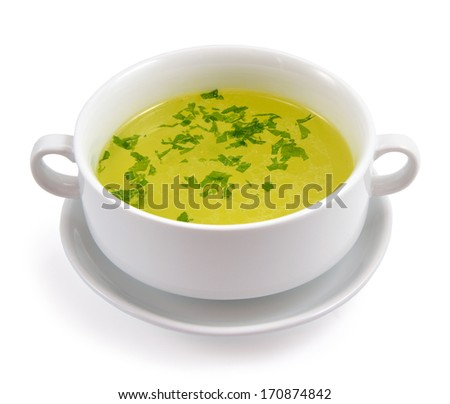 Chicken broth greens. Isolated on white background. - stock photo