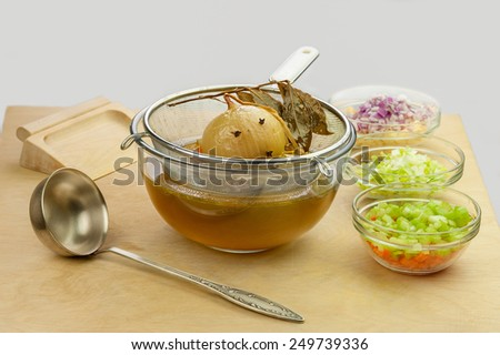 chicken broth vegetable soup - stock photo