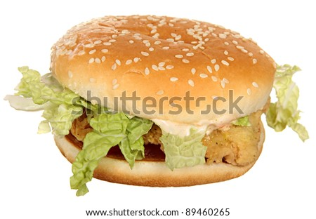 Chicken burger with leaves salads and white sauce isolated on a white background