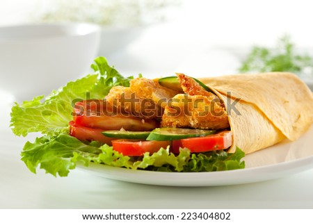 Chicken Burrito with Vegetables and Salad Leaf - stock photo