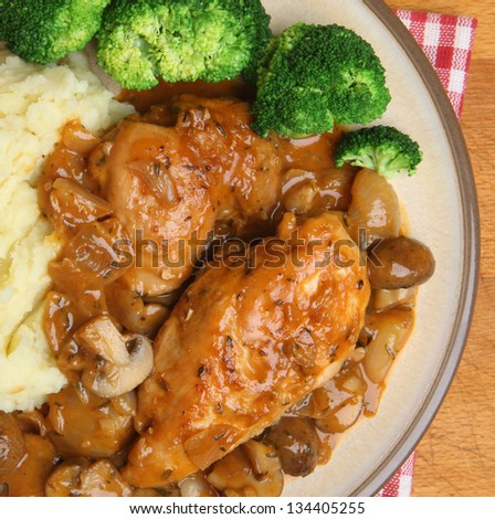 Chicken chasseur, classic French casserole, served with mashed potato and broccoli.