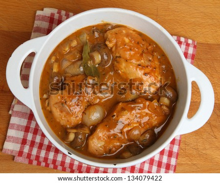 Chicken chasseur, traditional French casserole with mushrooms, shallots and herbs.