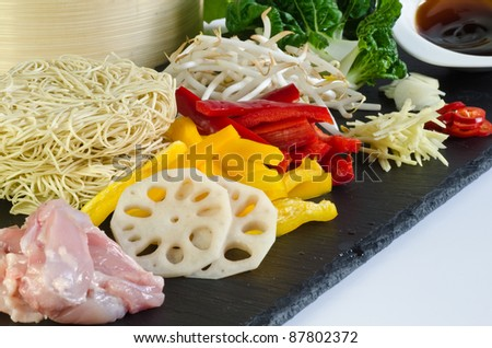 chicken chow mein ingredients - stock photo