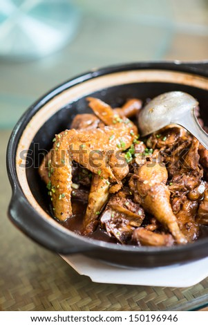 Chicken clay pot - stock photo