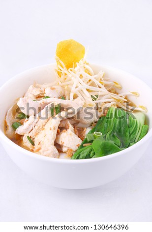 Chicken clear noodle soup with won ton. - stock photo