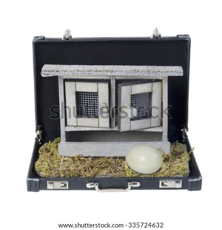 Chicken coop used to house chickens for their eggs in a briefcase - path included - stock photo
