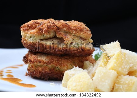 chicken cordon bleu - stock photo