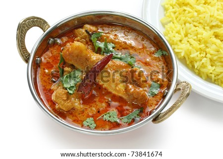 chicken curry , indian dish , on white background - stock photo