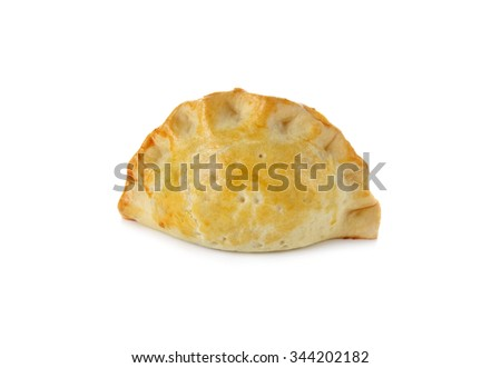 Chicken Curry Puff on white background