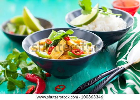 Chicken curry with green beans  and rice - stock photo