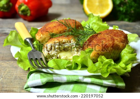 Chicken cutlet stuffed with mozzarella cheese. - stock photo