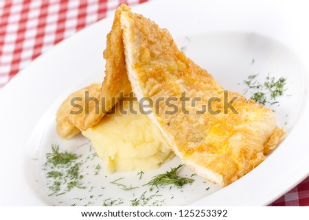 Chicken cutlets with mashed potatoes - stock photo