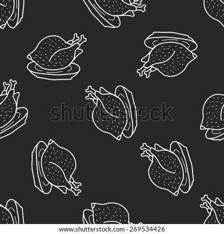 chicken doodle seamless pattern background