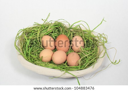chicken eggs in a basket on white background - stock photo