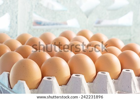 Chicken eggs in egg tray - stock photo