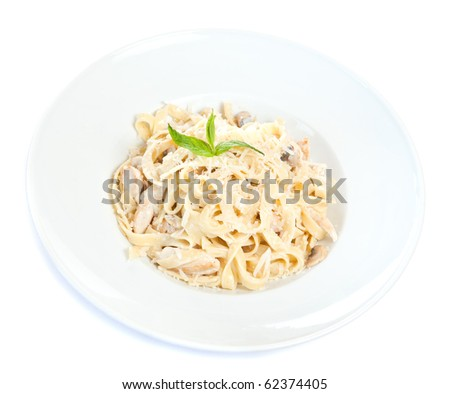 Chicken fettuccine pasta is ready to eat - stock photo