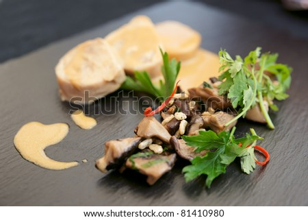 Chicken fillet cooked in asian way with shiitake black mushrooms - stock photo