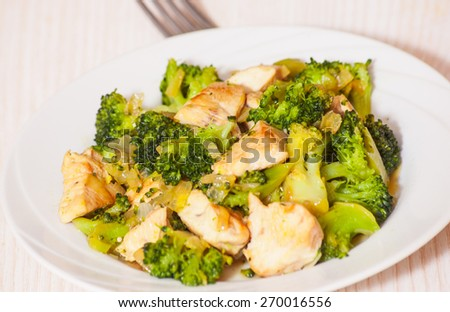 chicken fillet with broccoli - stock photo