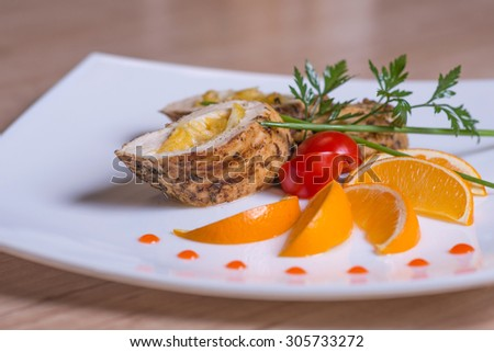 chicken fillet with lemon - stock photo