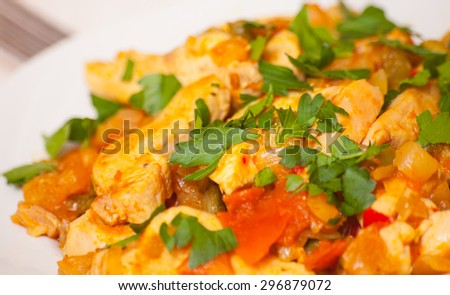 chicken fillet with vegetables - stock photo