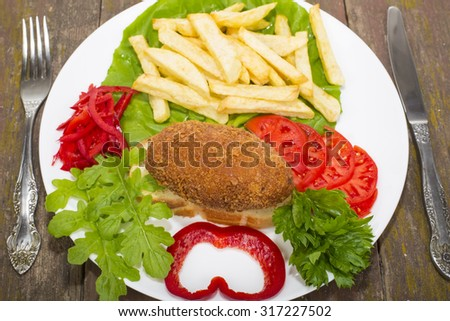 chicken fish Ukraine on the croutons with grilled fries