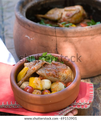 chicken food in a hot pot - stock photo