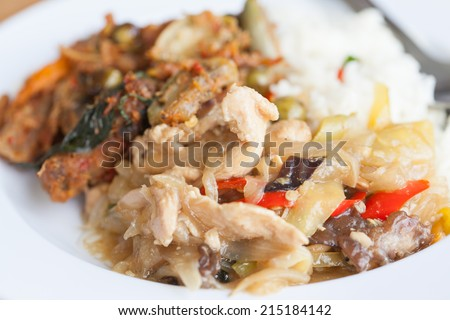 Chicken fried with ginger ob rice , Thai dish of chicken - stock photo