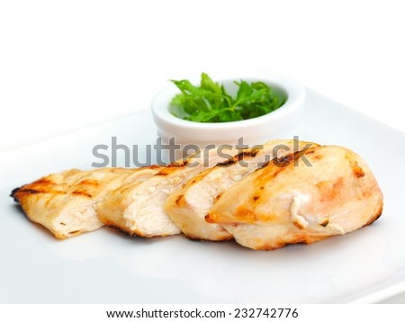 chicken grill food meat sliced isolated on white background - stock photo