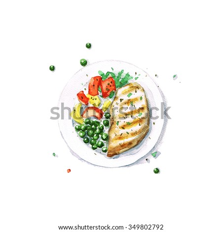 Chicken Grill - Watercolor Food Collection - stock photo