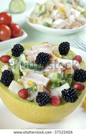 chicken ham with fruits in melon