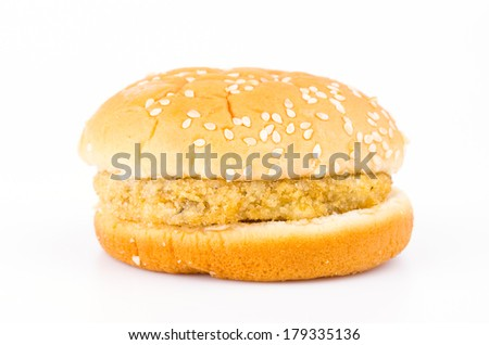 Chicken hamburger on white background
