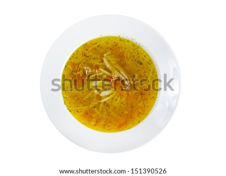 Chicken homemade  soup with noodle and vegetables..isolated - stock photo